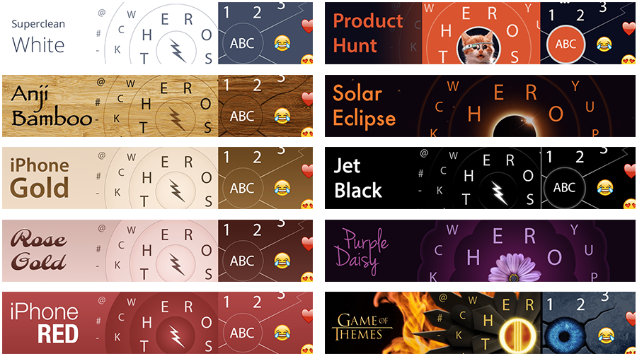 Some of HERO Keyboard's themes.