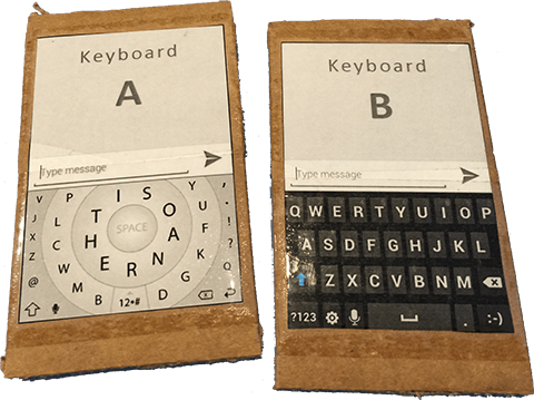 Cardboard cutouts used for early A-B keyboard speed tests.